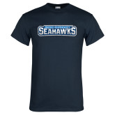 Navy T Shirt-Keiser University Seahawks Distressed