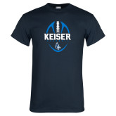 Navy T Shirt-Keiser Football Vertical
