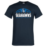 Navy T Shirt-Seahawks Basketball Half Ball