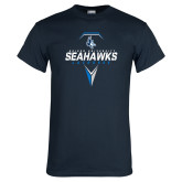 Navy T Shirt-Seahawks Lacrosse Geometric