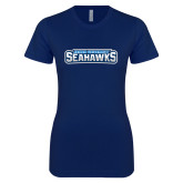 Next Level Ladies SoftStyle Junior Fitted Navy Tee-Keiser University Seahawks