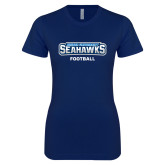 Next Level Ladies SoftStyle Junior Fitted Navy Tee-Football