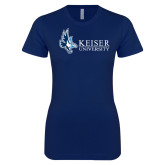Next Level Ladies SoftStyle Junior Fitted Navy Tee-Institutional Logo