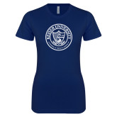 Next Level Ladies SoftStyle Junior Fitted Navy Tee-University Seal