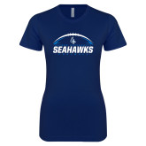 Next Level Ladies SoftStyle Junior Fitted Navy Tee-Seahawks Football with Ball