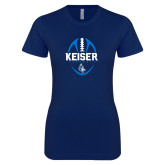 Next Level Ladies SoftStyle Junior Fitted Navy Tee-Keiser Football Vertical