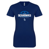 Next Level Ladies SoftStyle Junior Fitted Navy Tee-Seahawks Soccer Half Ball