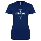 Next Level Ladies SoftStyle Junior Fitted Navy Tee-Seahawks Lacrosse Geometric