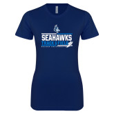 Next Level Ladies SoftStyle Junior Fitted Navy Tee-Seahawks Track and Field Stacked
