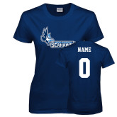 Ladies Navy T Shirt-Primary Logo, Custom Tee w/ Name and #