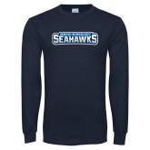 Navy Long Sleeve T Shirt-Keiser University Seahawks