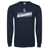 Navy Long Sleeve T Shirt-Keiser University Seahawks Slanted Stencil