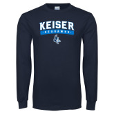 Navy Long Sleeve T Shirt-Arched Keiser Seahawks