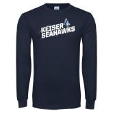 Navy Long Sleeve T Shirt-Slashed and Slanted Keiser Seahawks