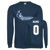 Navy Long Sleeve T Shirt-Primary Logo, Custom Tee w/ Name and #