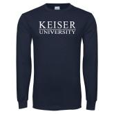 Navy Long Sleeve T Shirt-University Wordmark