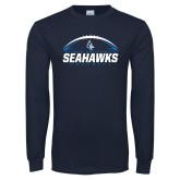 Navy Long Sleeve T Shirt-Seahawks Football with Ball
