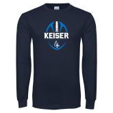 Navy Long Sleeve T Shirt-Keiser Football Vertical
