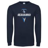 Navy Long Sleeve T Shirt-Seahawks Lacrosse Geometric