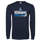Navy Long Sleeve T Shirt-Seahawks Track and Field Stacked