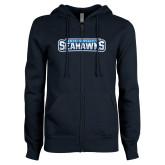 ENZA Ladies Navy Fleece Full Zip Hoodie-Keiser University Seahawks