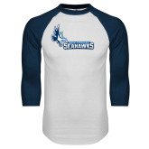 White/Navy Raglan Baseball T Shirt-Primary Logo