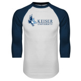 White/Navy Raglan Baseball T Shirt-Institutional Logo