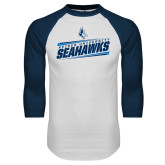 White/Navy Raglan Baseball T Shirt-Keiser University Seahawks Slanted Stencil