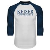 White/Navy Raglan Baseball T Shirt-University Wordmark