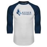 White/Navy Raglan Baseball T Shirt-Institutional Logo