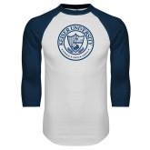 White/Navy Raglan Baseball T Shirt-University Seal