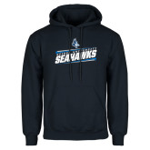 Navy Fleece Hoodie-Keiser University Seahawks Slanted Stencil