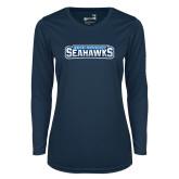 Ladies Syntrel Performance Navy Longsleeve Shirt-Keiser University Seahawks