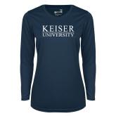 Ladies Syntrel Performance Navy Longsleeve Shirt-University Wordmark