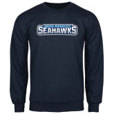 Navy Fleece Crew-Keiser University Seahawks