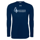 Under Armour Navy Long Sleeve Tech Tee-Institutional Logo
