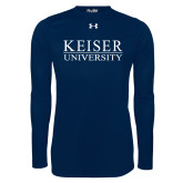 Under Armour Navy Long Sleeve Tech Tee-University Wordmark