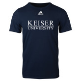 Adidas Navy Logo T Shirt-University Wordmark