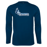 Performance Navy Longsleeve Shirt-Primary Logo