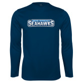Performance Navy Longsleeve Shirt-Keiser University Seahawks