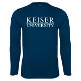 Syntrel Performance Navy Longsleeve Shirt-University Wordmark