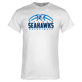 White T Shirt-Seahawks Basketball Half Ball