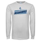 White Long Sleeve T Shirt-Keiser University Seahawks Slanted Stencil