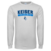 White Long Sleeve T Shirt-Arched Keiser Seahawks
