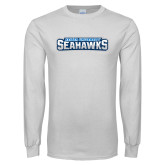 White Long Sleeve T Shirt-Keiser University Seahawks Distressed