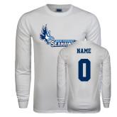 White Long Sleeve T Shirt-Primary Logo, Custom Tee w/ Name and #