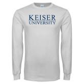 White Long Sleeve T Shirt-University Wordmark