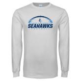 White Long Sleeve T Shirt-Seahawks Football with Ball