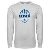White Long Sleeve T Shirt-Keiser Football Vertical