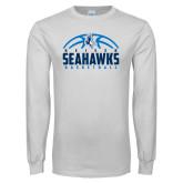 White Long Sleeve T Shirt-Seahawks Basketball Half Ball